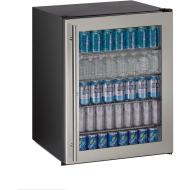 24-In. ADA Series Stainless Frame Glass Door, Field-Reversible Door Refrigerator with Lock