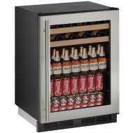 24-In 1000 Series Stainless Frame Beverage Center with Reversible Door Hinge