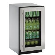 18-In. 2000 Series Stainless Frame Glass Door Refrigerator with Reversible Door Hinge