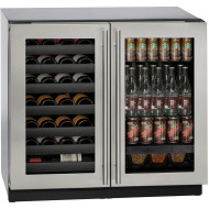 36-in. Modular 3000 Series Double Door Beverage Center with Stainless Frame
