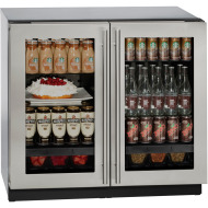 36 In. 3000 Series Stainless Double Glass Door Refrigerator with Lock