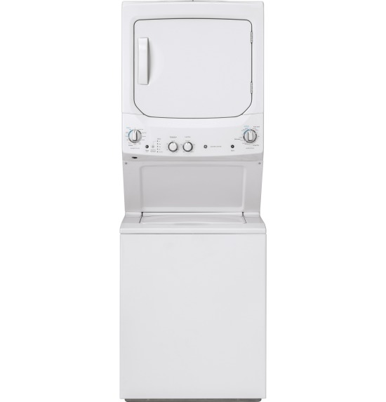 GE Unitized Spacemaker® 3.8 DOE cu. ft. Capacity Washer with Stainless Steel Basket and 5.9 cu. ft. Capacity Gas Dryer