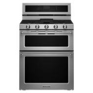 KitchenAid 30-Inch 5 Burner Gas Double Oven Convection Range