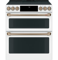 "Cafe Café™ 30"" Smart Slide-In, Front-Control, Radiant and Convection Double-Oven Range"