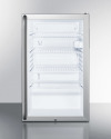 Model: SCR450LBI7SH   Commercially listed 20' wide glass door all-refrigerator for built-in use, auto defrost with a lock, full-length handle,S and white cabinet