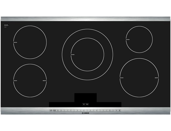 36 Induction Cooktop with SteelTouchTM Control and AutoChef 800 Series - Black with Stainless Steel Strips