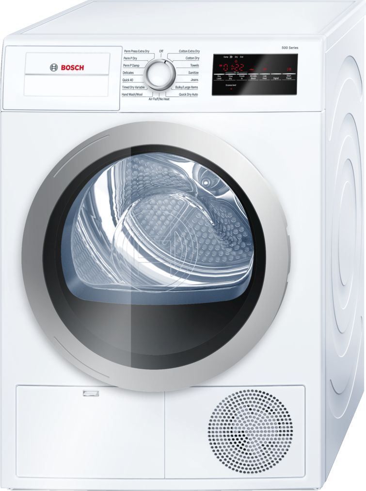"Bosch 500 Series24"" Compact Condensation Dryer, WTG86401UC, White/Silver"