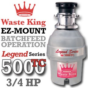 Waste King Garbage Disposal - 5000tc .75 hp Legend Series Garbage Disposer - Batchfeed