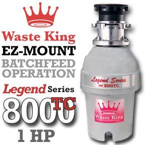 Waste King Garbage Disposal - 8000TC 1 HP Legend Series Garbage Disposer - Batchfeed