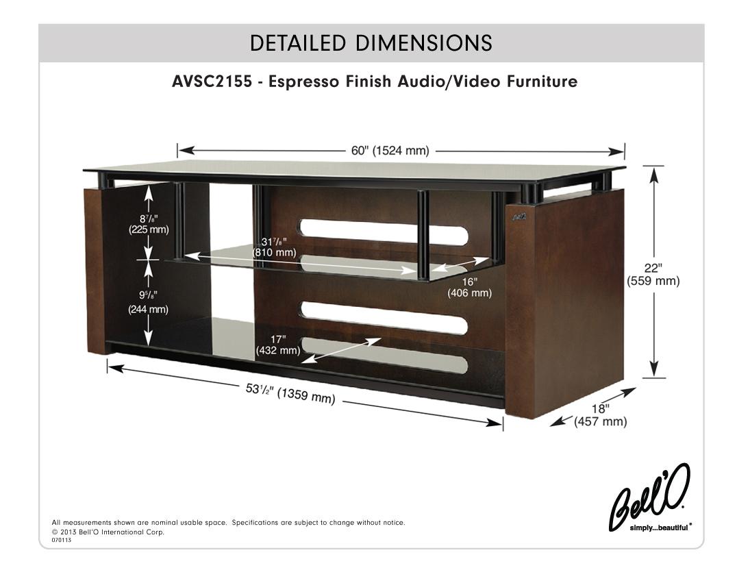 Model: AVSC2155 | Bell'O Espresso Finish Audio/Video System