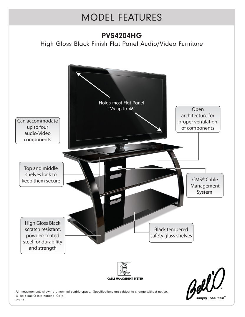 Model: PVS4204HG | Bell'O High Gloss Black FInish Flat Panel Audio/Video Furniture