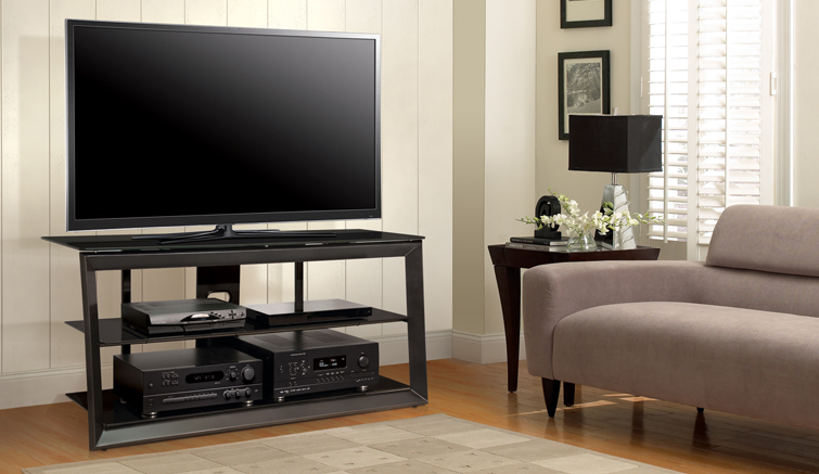Versatile Dark Pewter Finish Audio/Video Furniture
