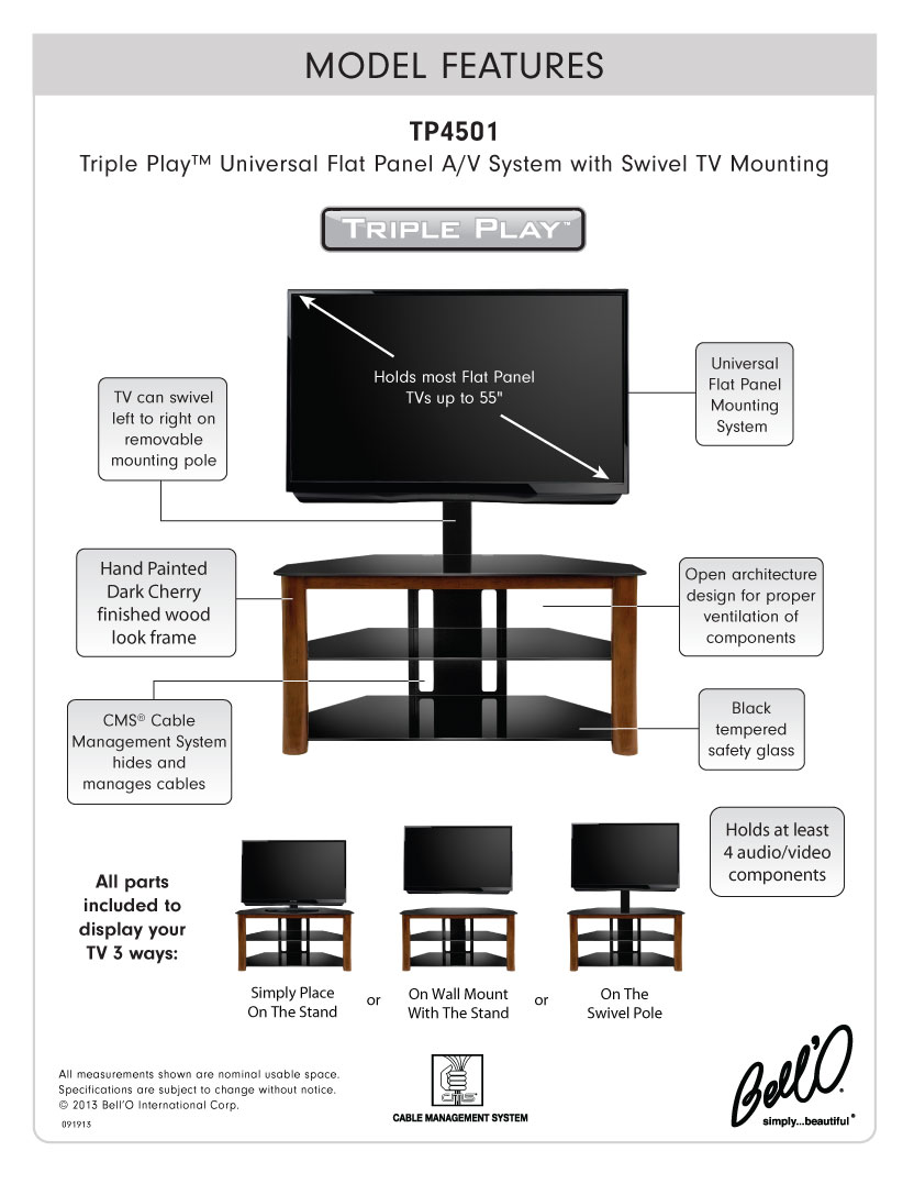 Model: TP4501 | Bell'O Triple Play  Universal Flat Panel Audio/Video System