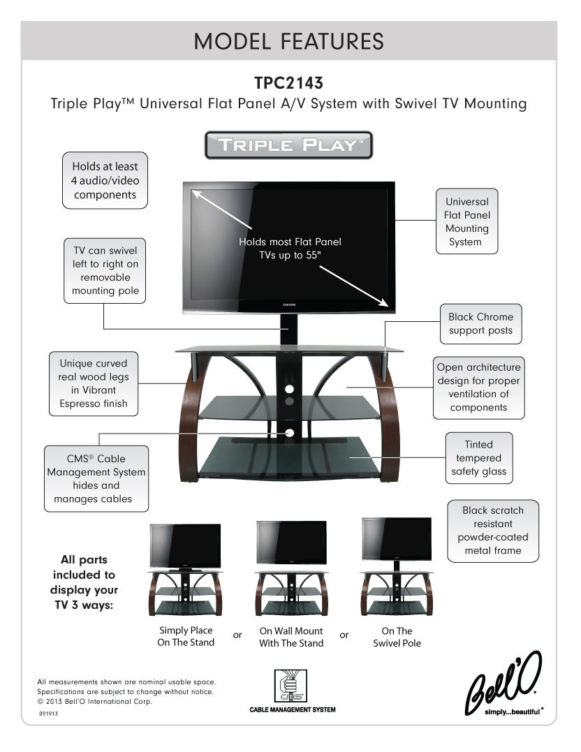 Model: TPC2143 | Bell'O Triple Play  Universal Flat Panel Audio/Video System