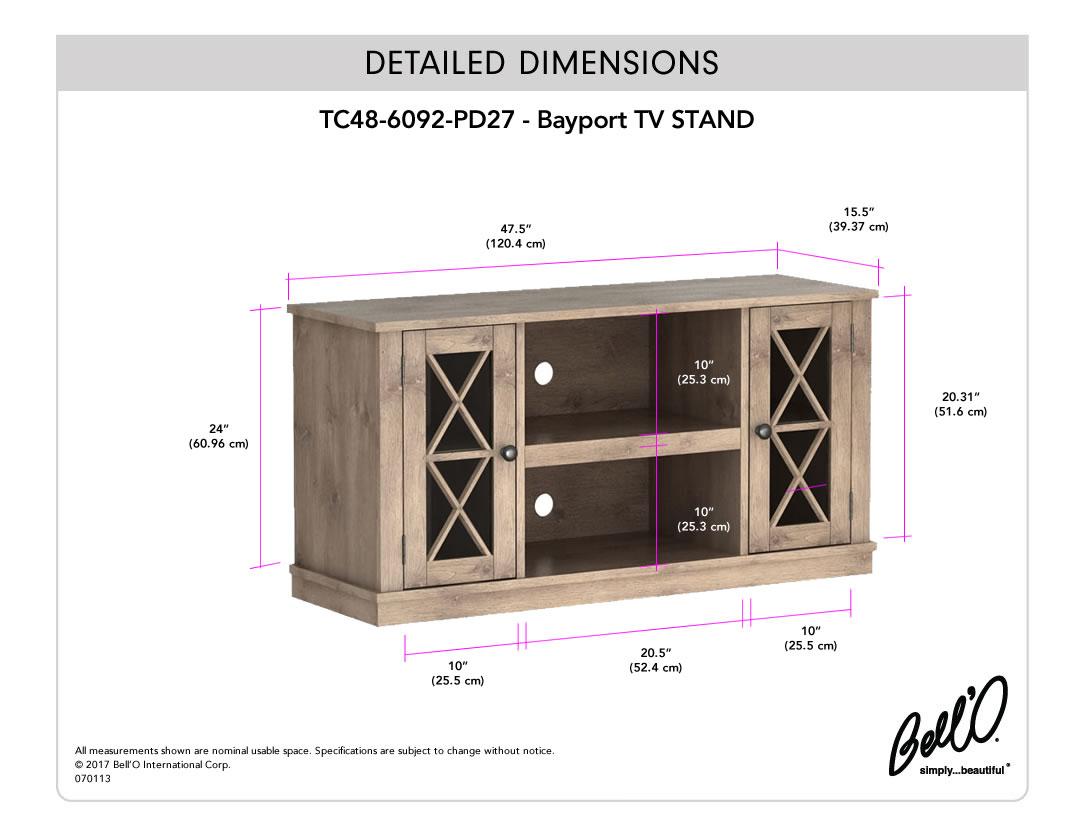 Model: TC48-6092-PD27 | Bell'O BAYPORT TV Console