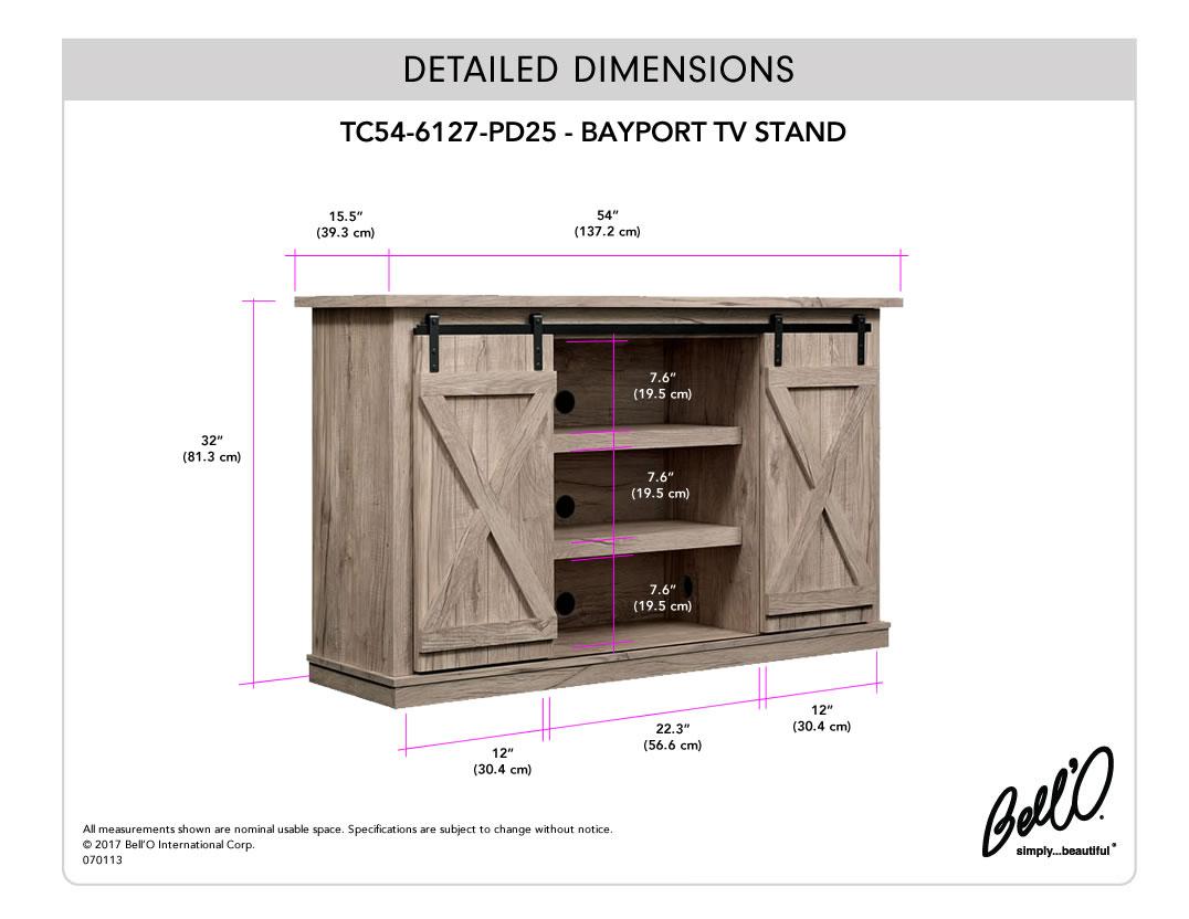 Model: TC54-6127-PD25   Bell'O BAYPORT TV Stand