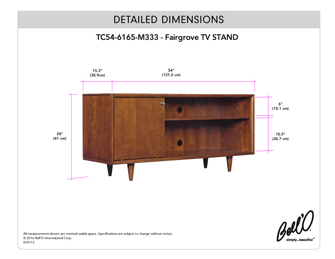 Model: TC54-6165-M333 | Bell'O FAIRGROVE TV Stand