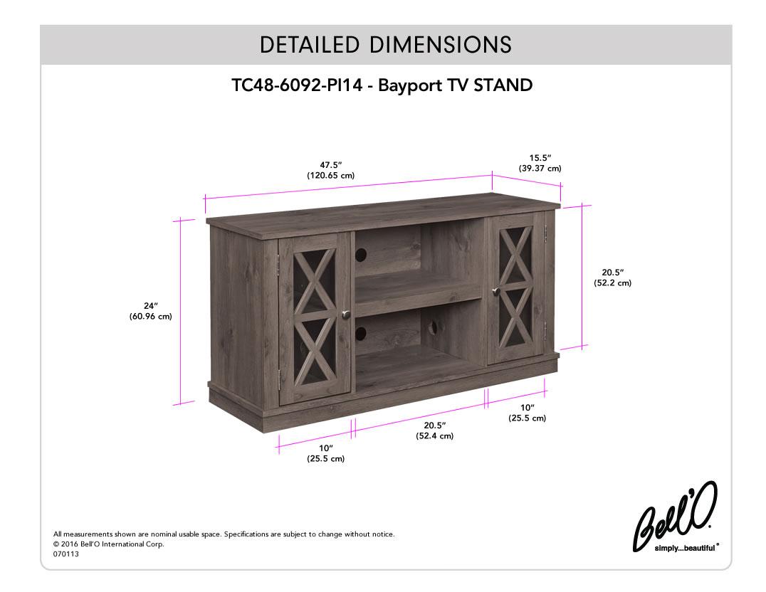 Model: TC48-6092-PI14   Bell'O BAYPORT TV Stand