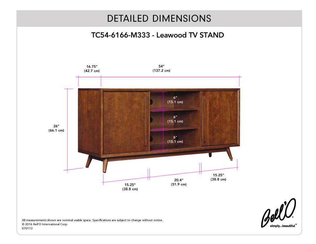 Model: TC54-6166-M333   Bell'O LEAWOOD TV Stand