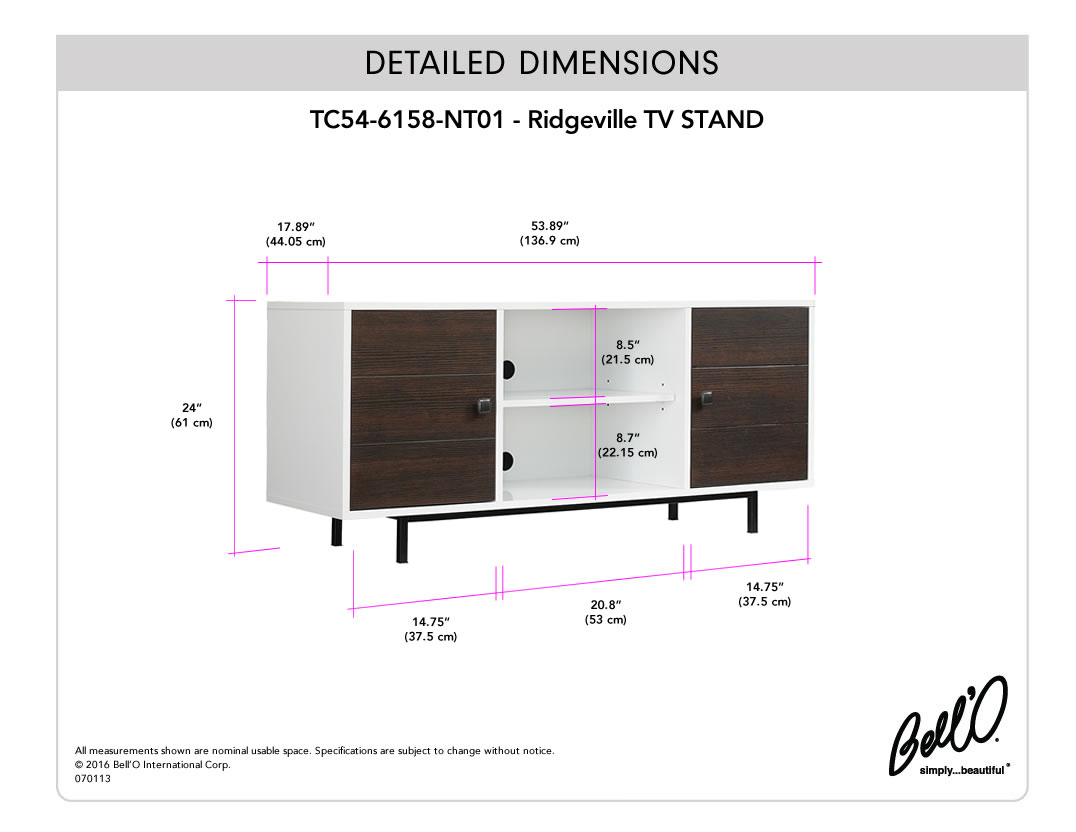 Model: TC54-6158-NT01 | Bell'O RIDGEVILLE TV Stand