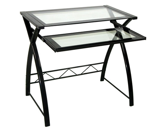 Computer Desk In High Gloss Black Finish