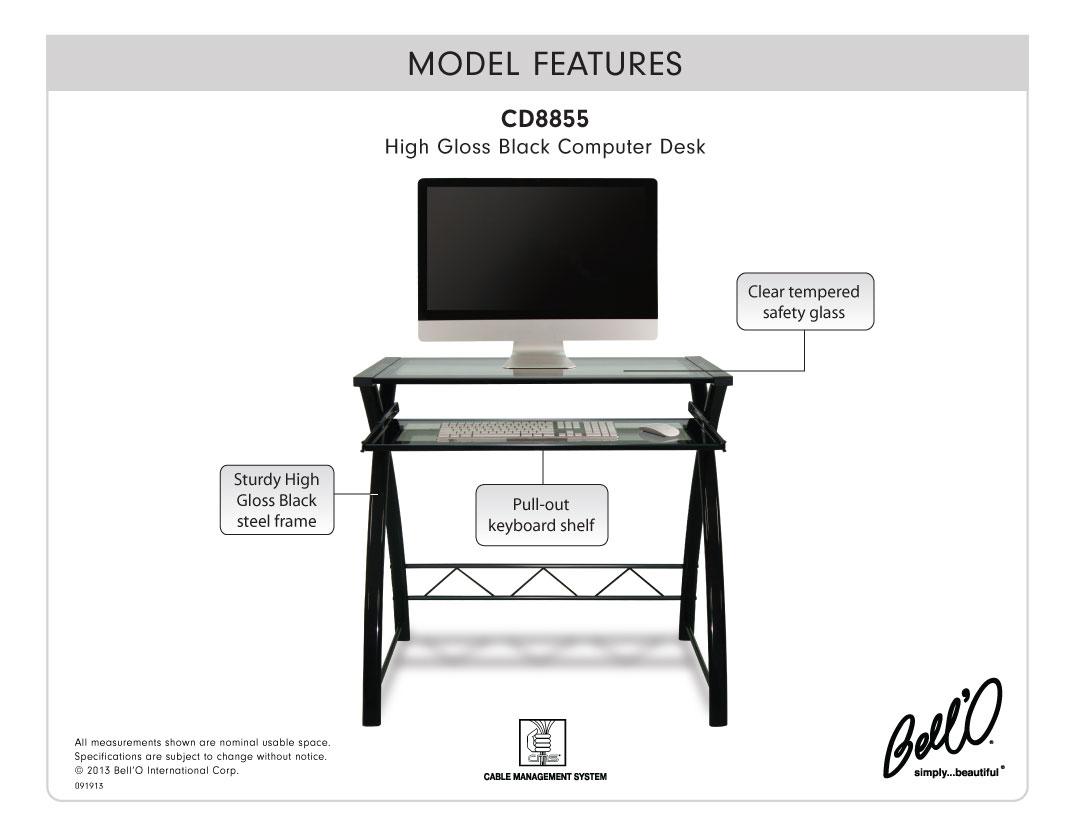 Model: CD8855 | Bell'O Computer Desk In High Gloss Black Finish