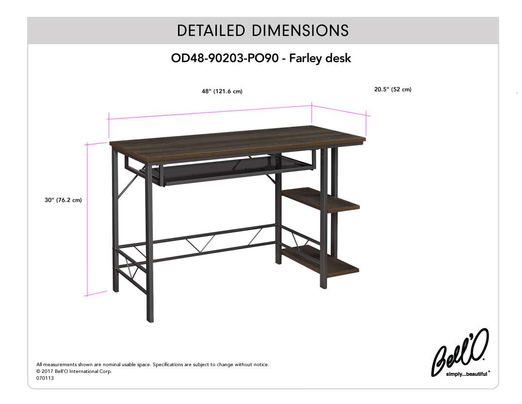 Model: OD48-90203-PO90 | Bell'O FARLEY DESK