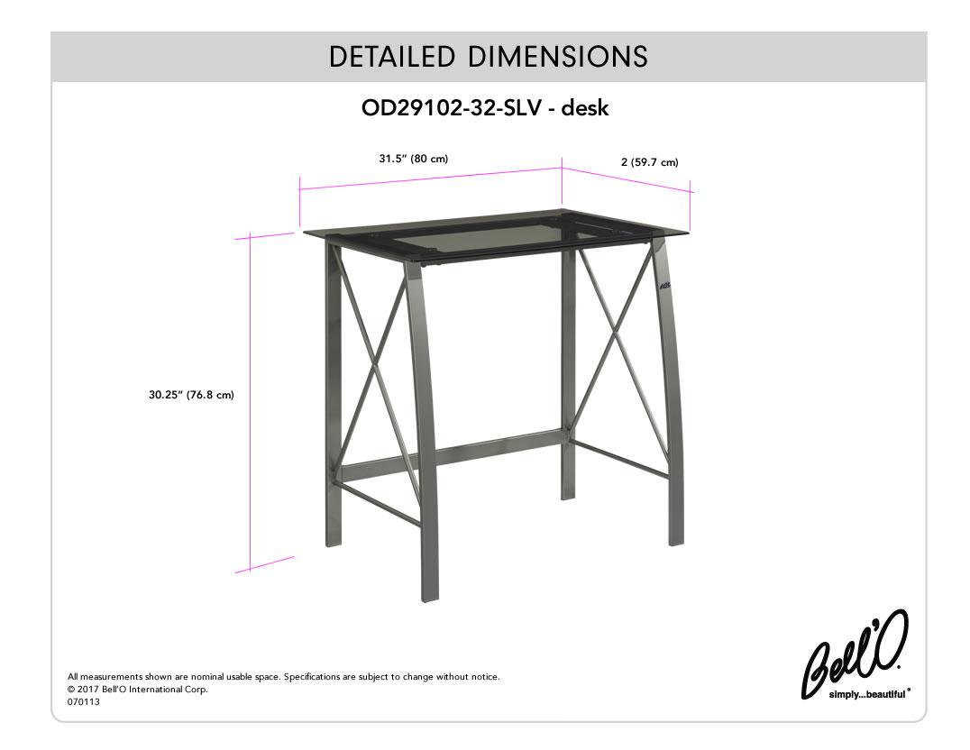 Model: OD29102-32-SLV | Bell'O DESK