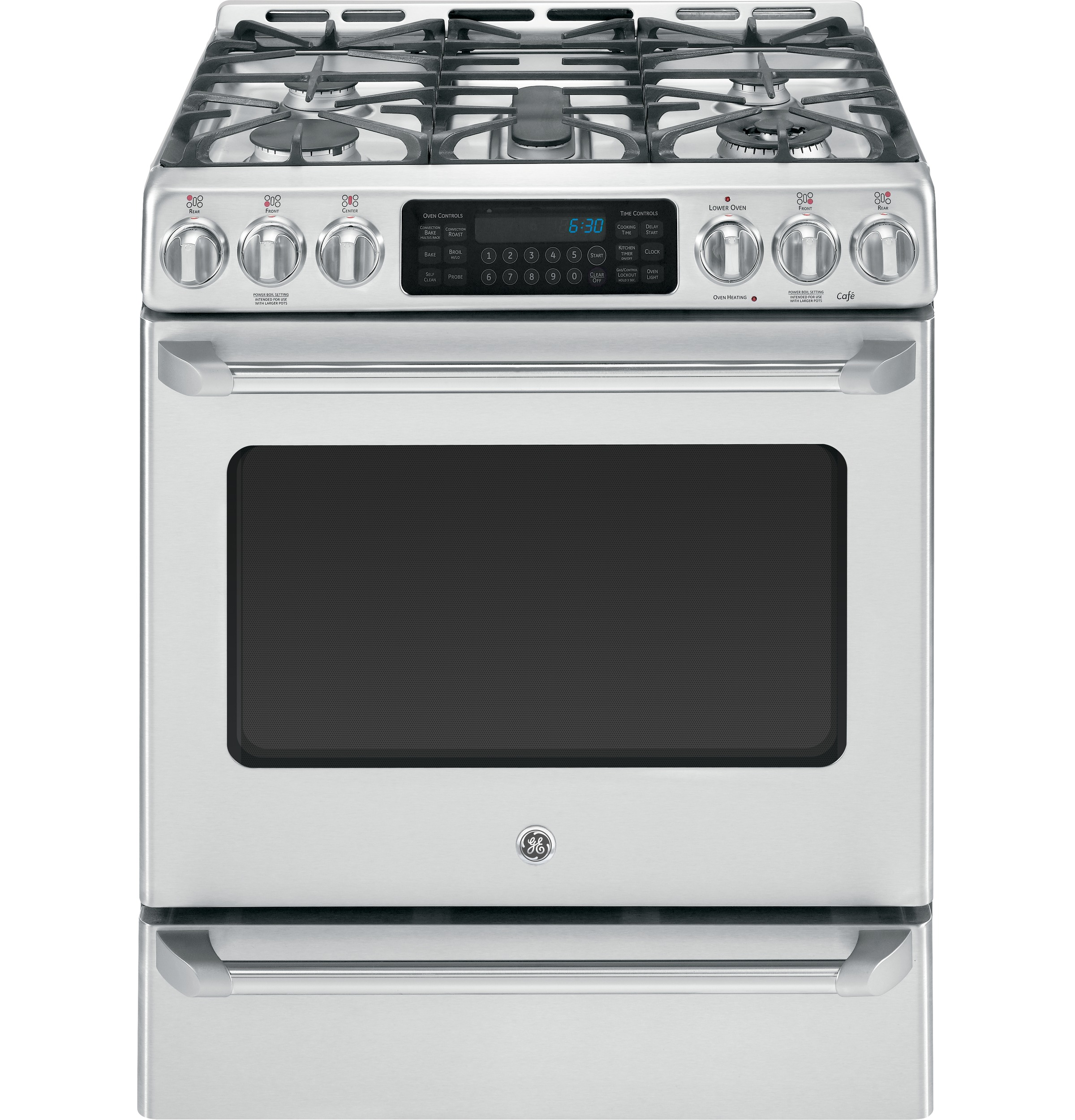 GE Café™ Series Slide-In Front Control Dual-Fuel Range with Baking Drawer
