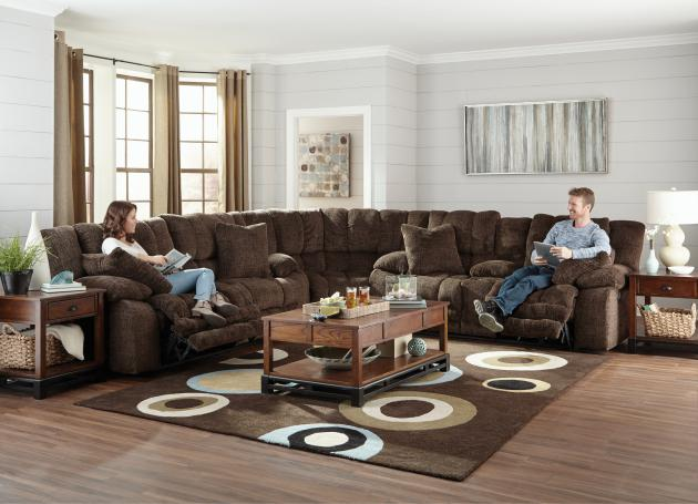 Branson Power Lay Flat Reclining Console Loveseat w/Extended Ottoman