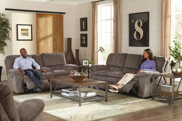Reyes Lay Flat Reclining Console Loveseat w/Storage & Cupholders