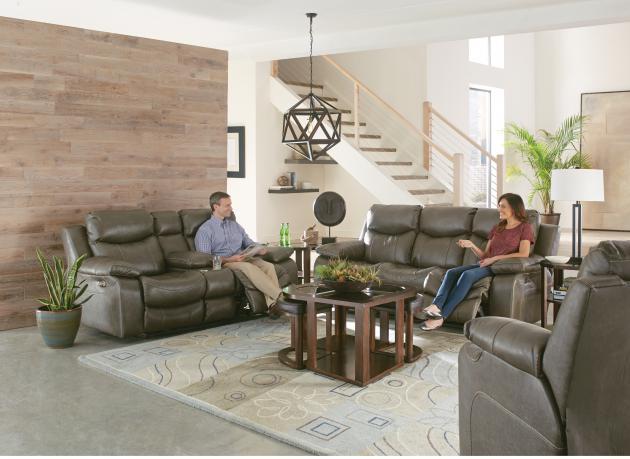 Connor Power Headrest Lay Flat Reclining Sofa w/Drop Down Table