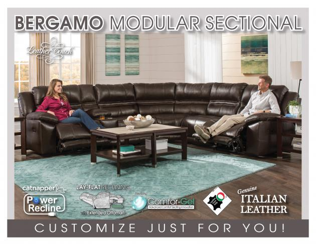 Model: Bergamo Power Headrest w/Lumbar LSF Recliner w/Extended Ottoman-   Bergamo Power Headrest w/Lumbar LSF Recliner w/Extended Ottoman