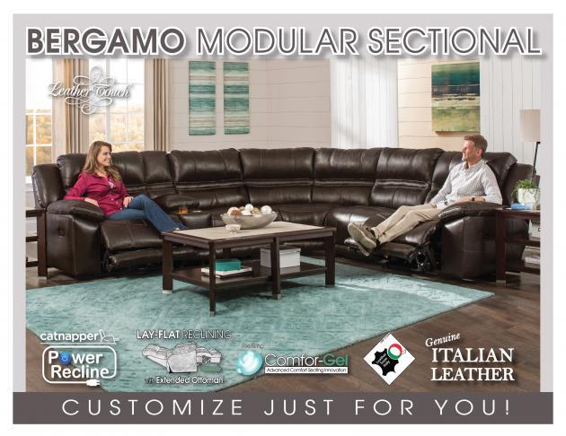 Model: Bergamo Power Headrest w/Lumbar RSF Recliner w/Extended Ottoman- | Bergamo Power Headrest w/Lumbar RSF Recliner w/Extended Ottoman