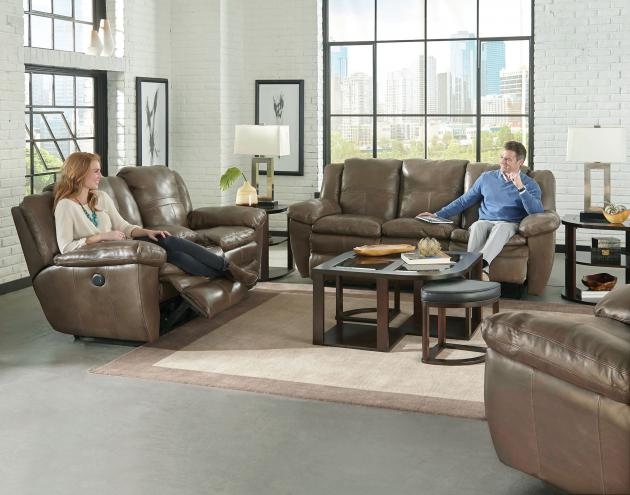 Aria Power Lay Flat Reclining Console Loveseat