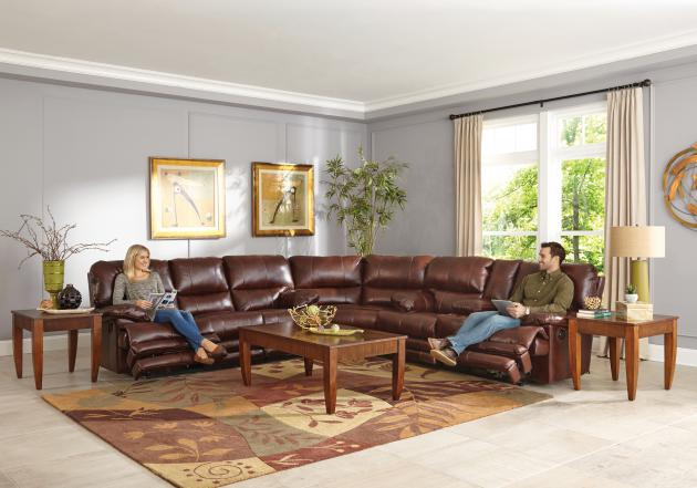 Austin Lay Flat Reclining Sofa,Storage, Extended Ottoman