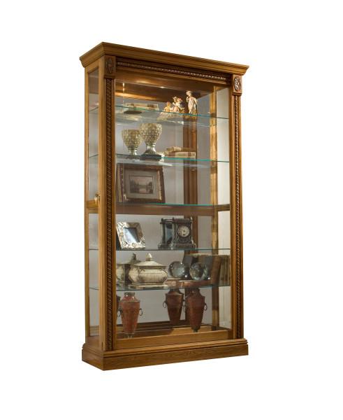 Pulaski Sliding Door Lighted Glass Curio Cabinet in Maple Finish