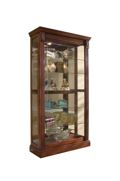 Pulaski Sliding Door Lighted Glass Curio Cabinet in Cherry Finish