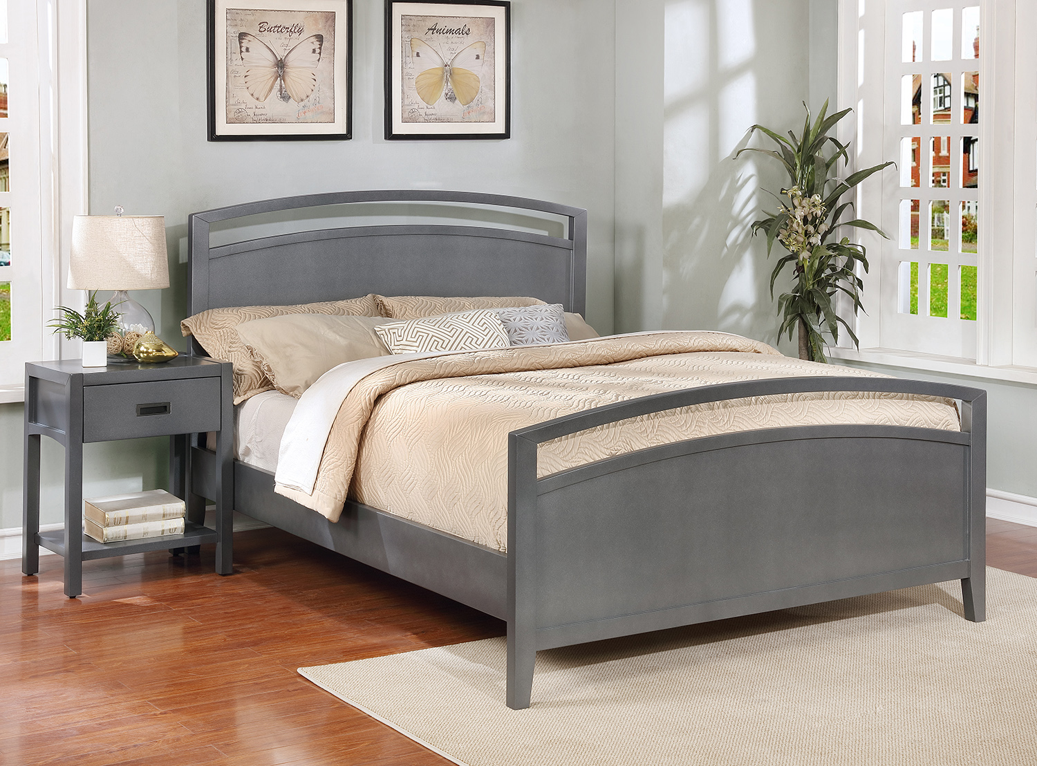 Reisa Platform Bed - Queen, Flat Grey