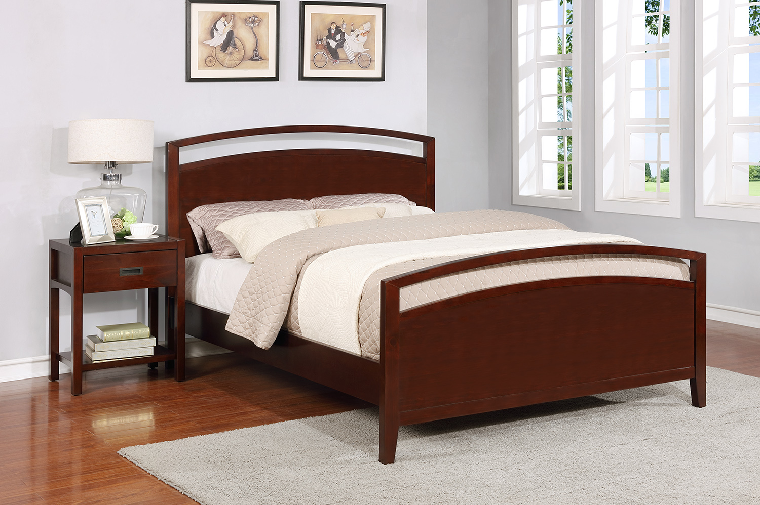 Reisa Platform Bed - King, Espresso Brown
