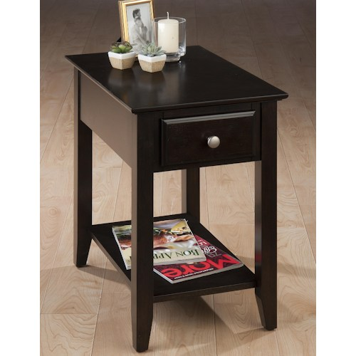 Espresso Casual Espresso Chairside End Table with Drawer & Shelf