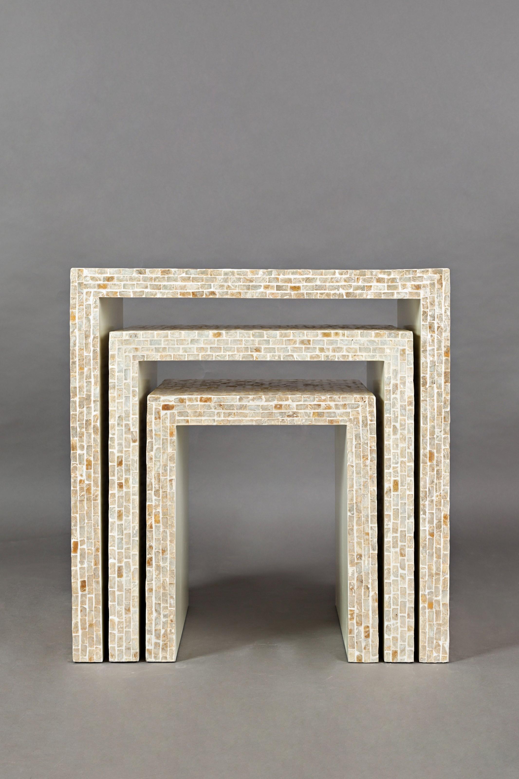 Global Archive Capiz Basket Weave Nesting Tables (Set of 3)