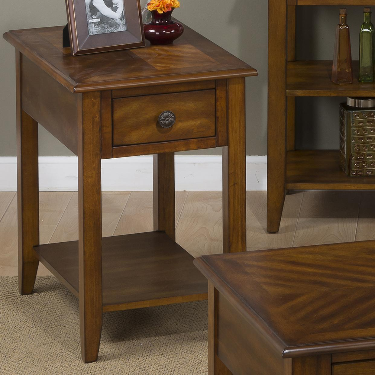 Medium Brown Chairside Table for Small and Compact Spaces