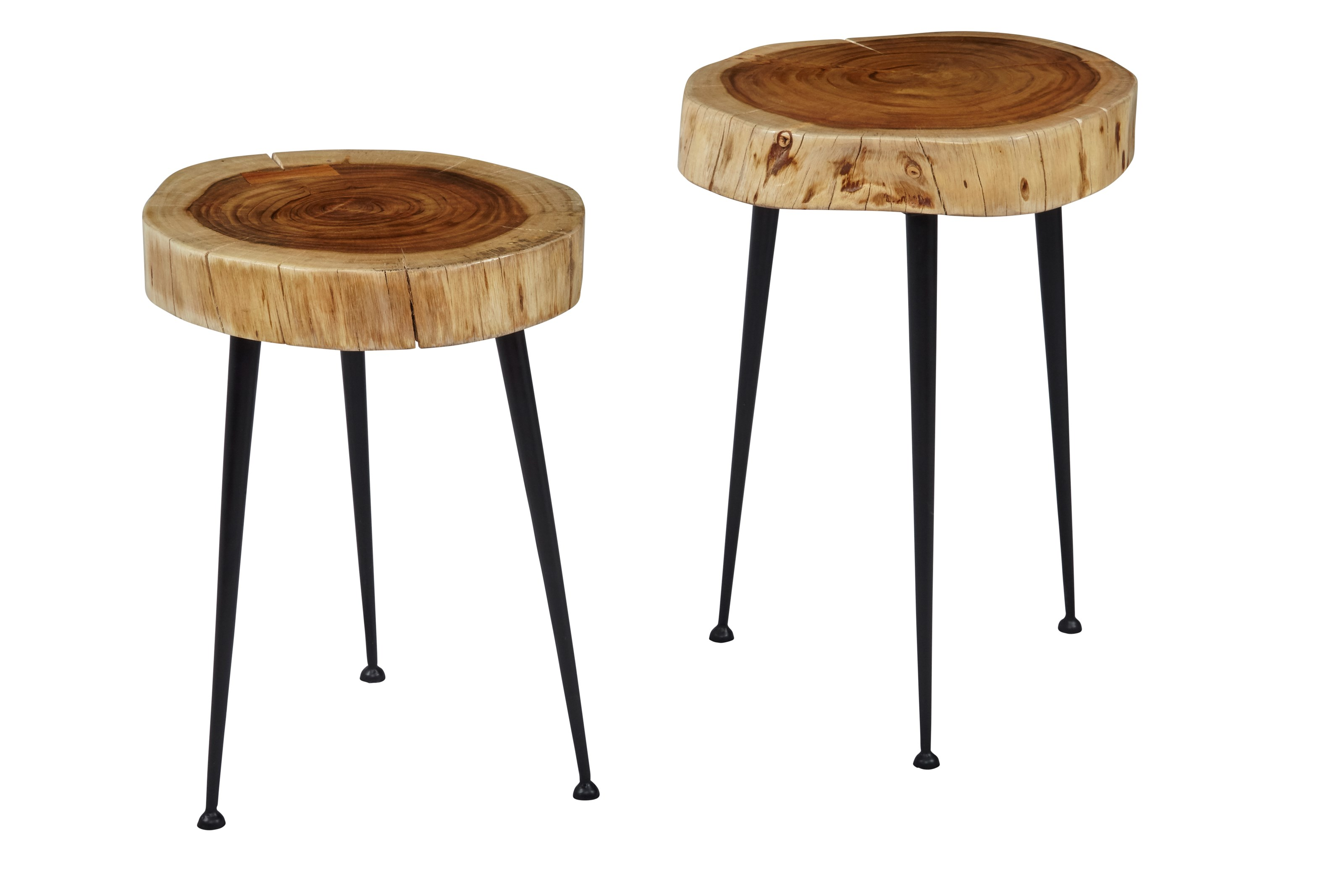 Global Archive Wood and Iron Accent Tables (Set of 2)