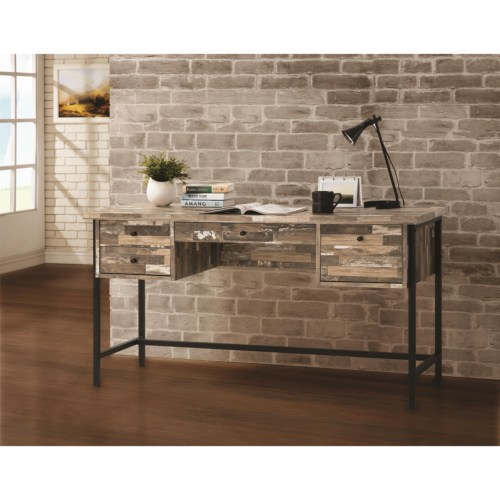 Coaster Rustic Style Writing Desk with Drawers
