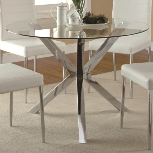 Coaster Vance Contemporary Glass-Top Dining Table with Unique Chrome Base
