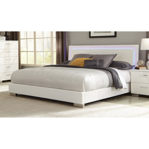 Coaster Felicity Queen Low Profile Bed with LED Backlight