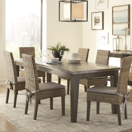 Coaster Davenport Rustic Metal Top Dining Table