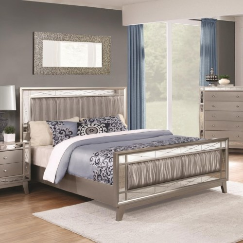 Coaster Leighton King Bed with Mirrored Panel Accents