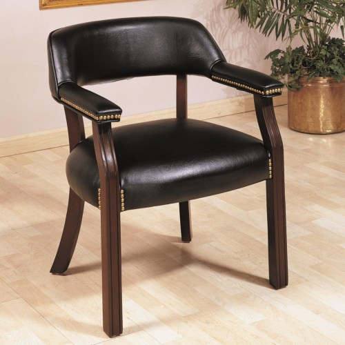 Coaster Office Chairs Traditional Upholstered Vinyl Side Chair with Nailhead Trim